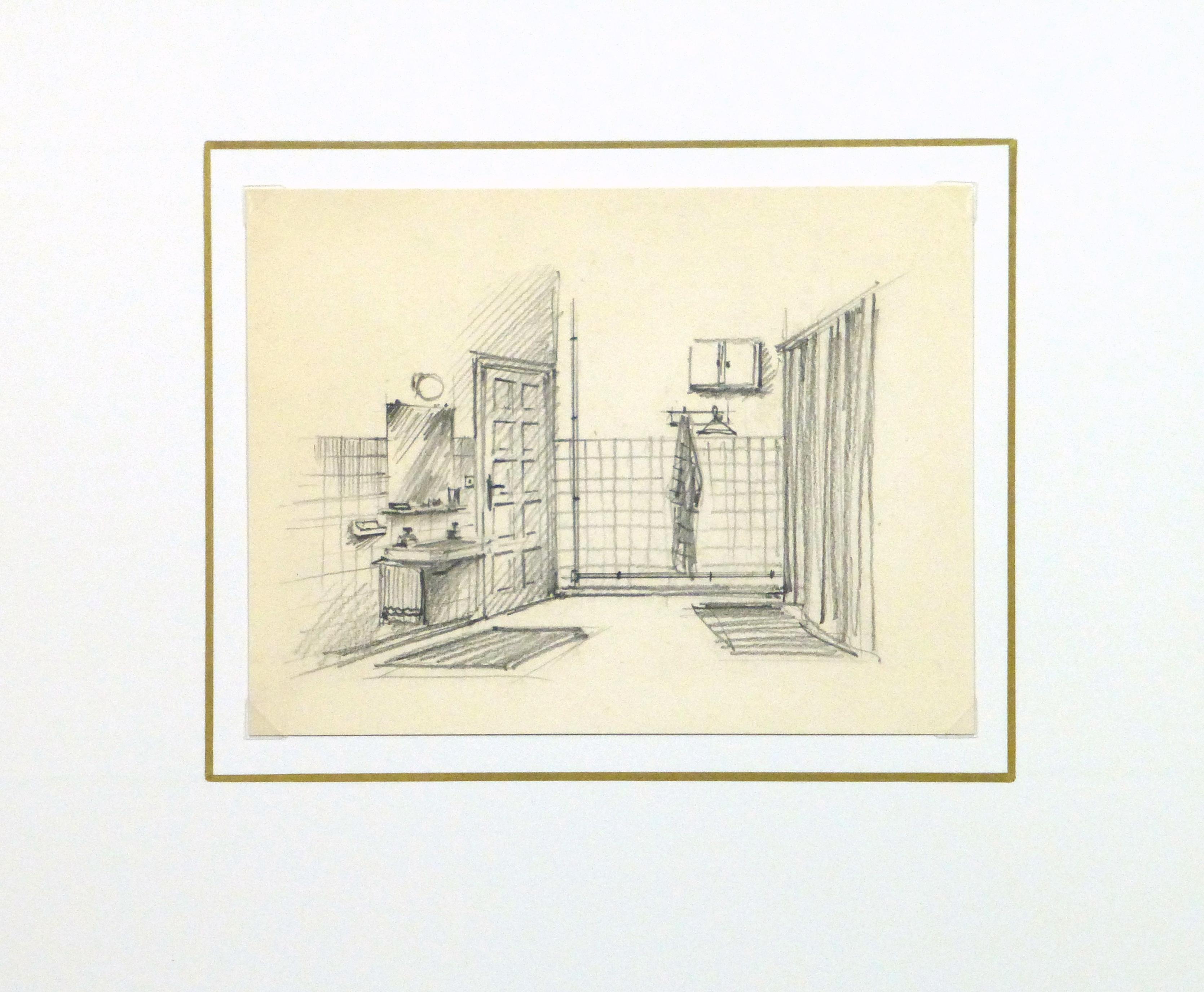 Pencil drawing bathroom interior circa 1950 for Bathroom interior design drawing