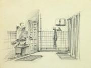 Pencil Drawing - Bathroom Interior, circa 1950-main-10358M