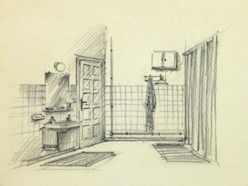 Pencil Drawing - Bathroom Interior, circa 1950-main-10358M