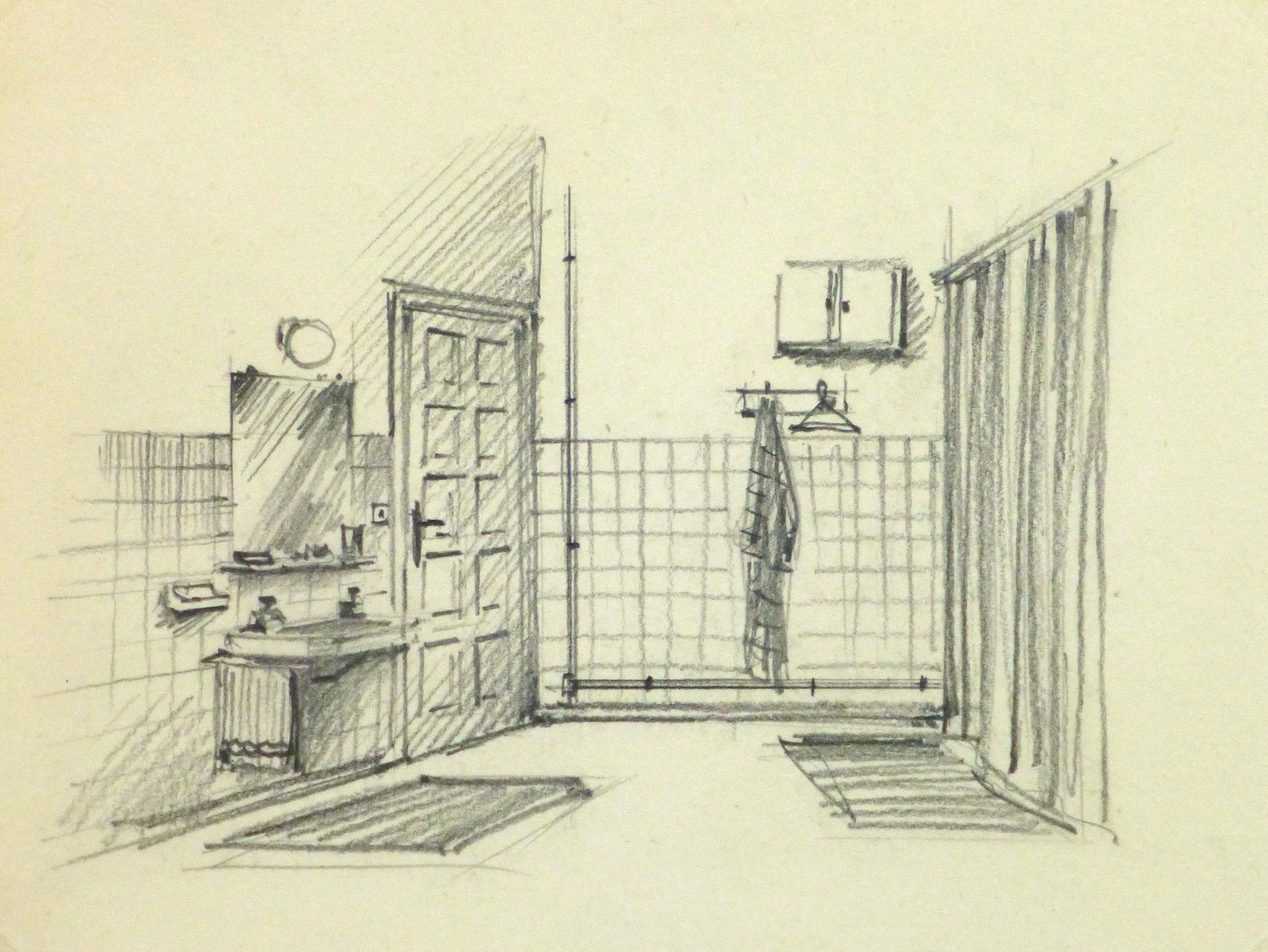 Pencil drawing bathroom interior circa 1950