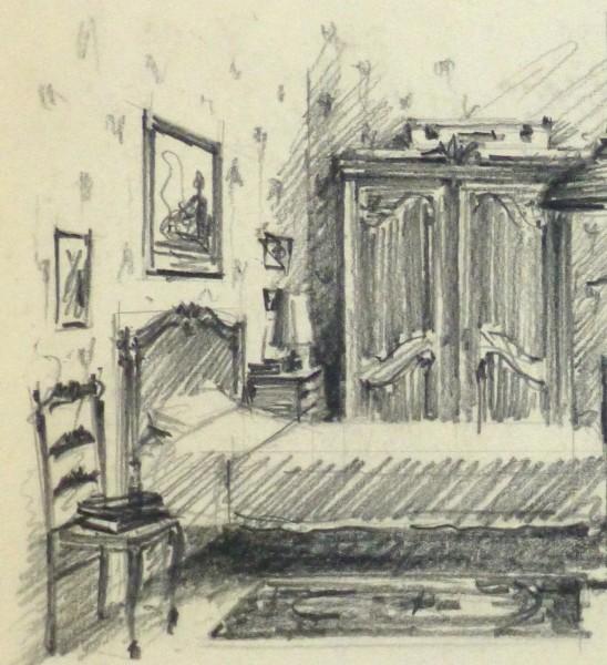 Pencil Drawing - Bedroom Interior, circa 1950-detail 2-10359M
