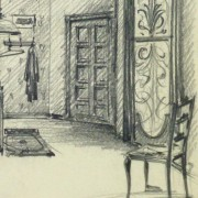 Pencil Drawing - Bedroom Interior, circa 1950-detail-10359M