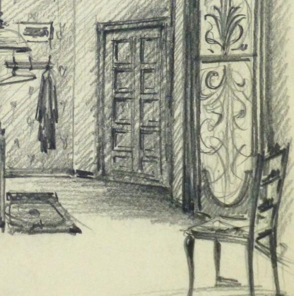 Pencil Drawing - Bedroom Interior, circa 1950-detail-10359M