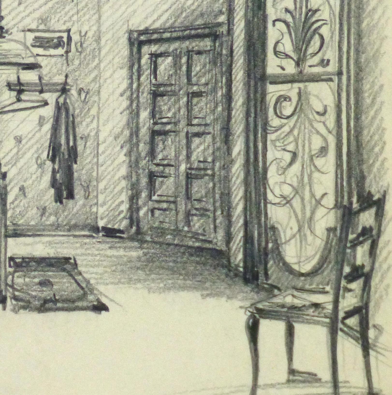 Pencil Drawing Bedroom Interior, Circa 1950