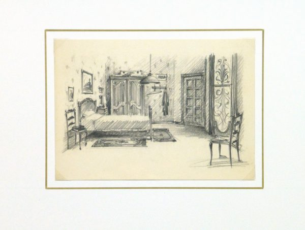 Pencil Drawing - Bedroom Interior, circa 1950-matted-10359M