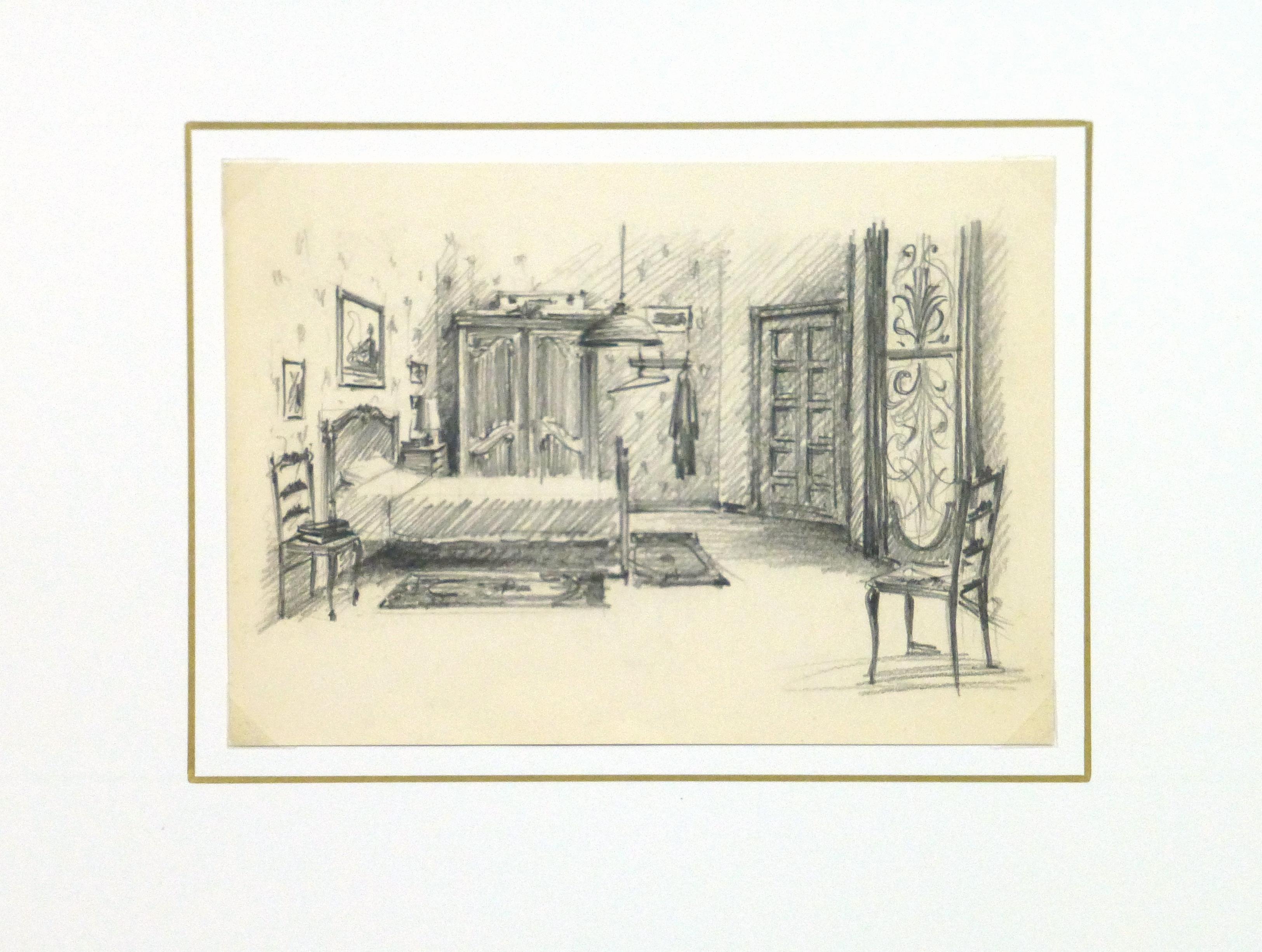 Pencil Drawing - Bedroom Interior, circa 1950-matted-10359M