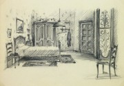 Pencil Drawing - Bedroom Interior, circa 1950-main-10359M