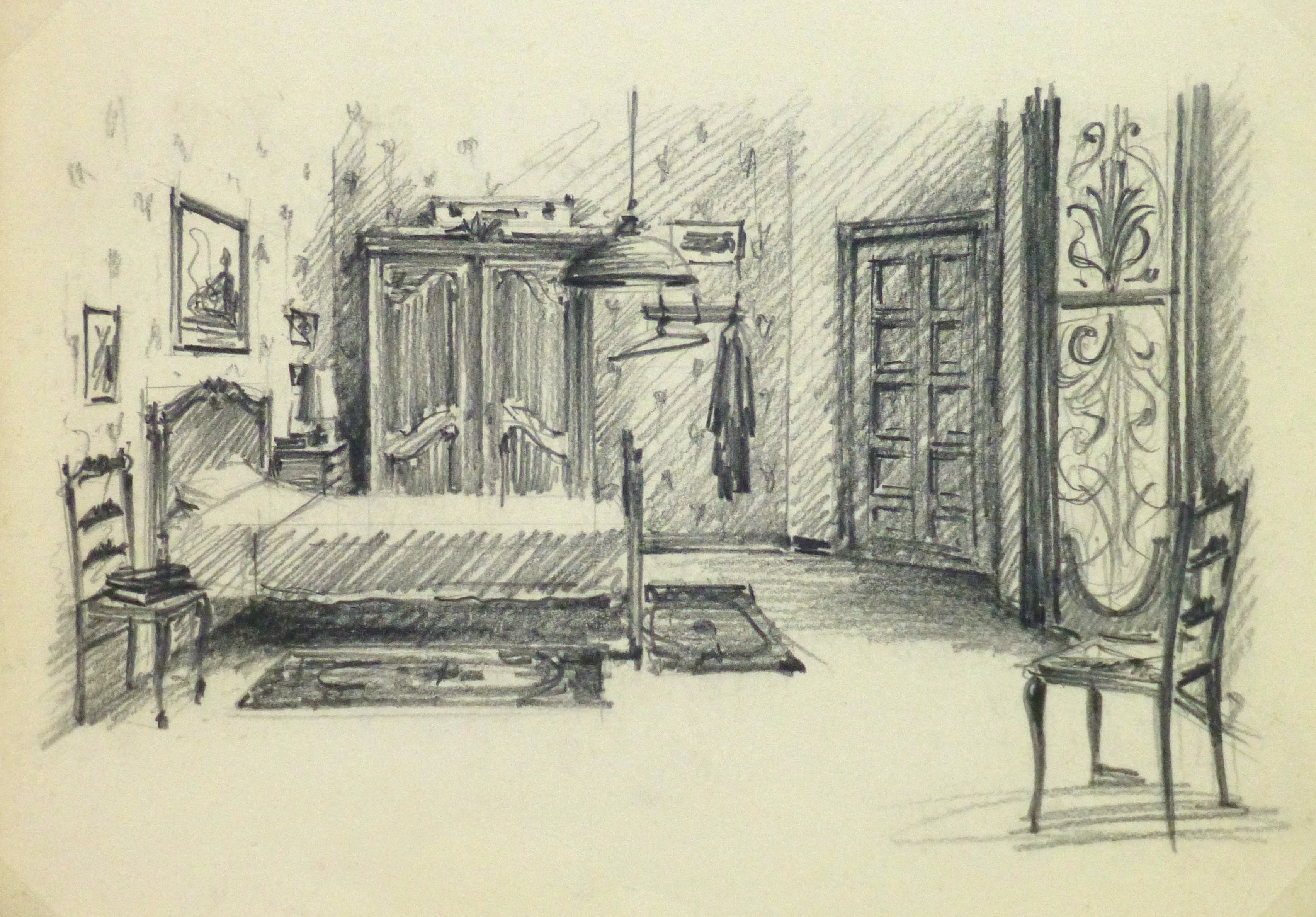 Pencil drawing bedroom interior circa 1950