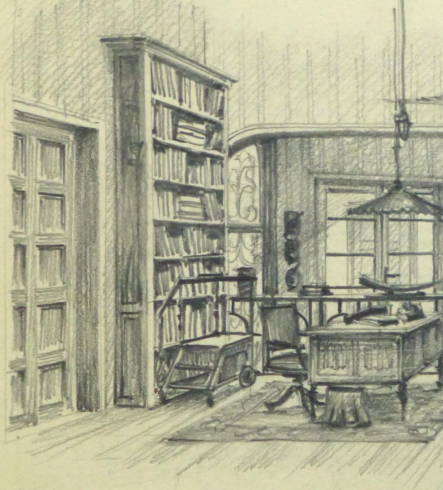 Pencil drawing library interior circa 1950 detail 2 10360m