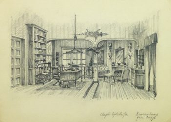 Pencil Drawing - Library Interior, circa 1950-main-10360M