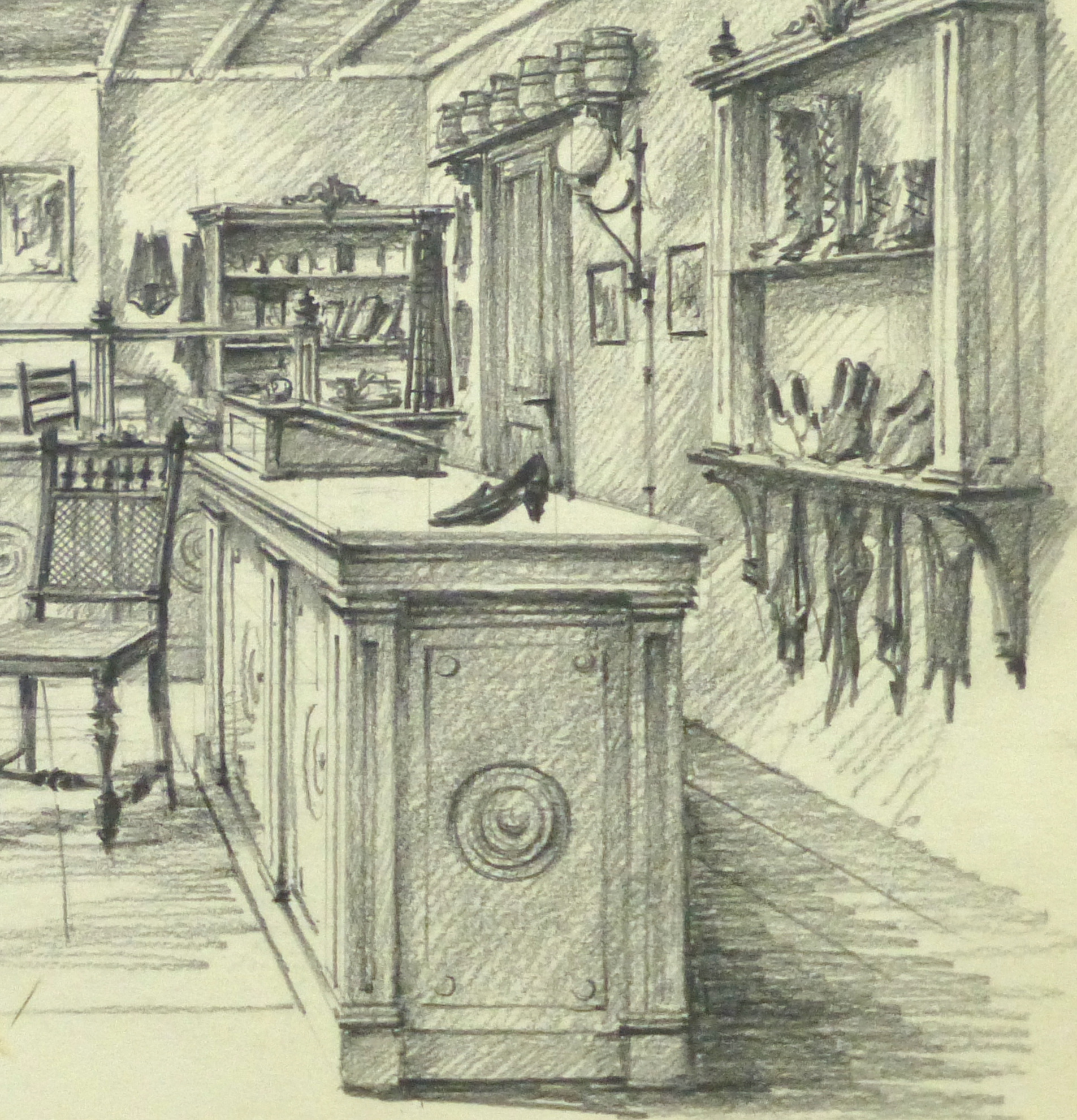 Pencil drawing belgium shoe shop circa 1950