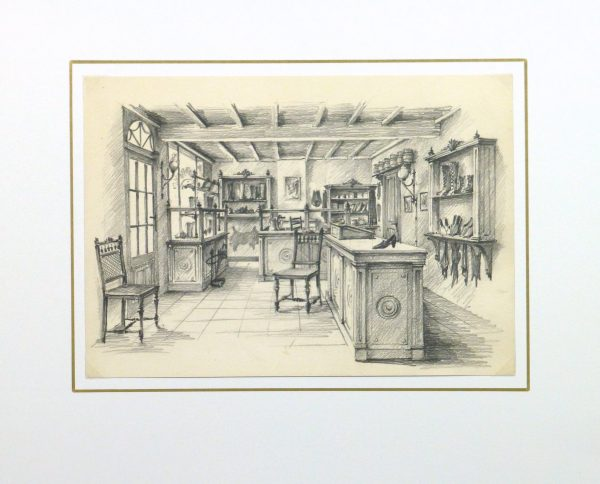 Pencil drawing shoe shop circa 1950 matted 10361m