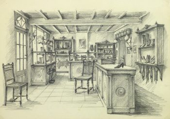 Pencil Drawing - Shoe Shop, circa 1950-main-10361M
