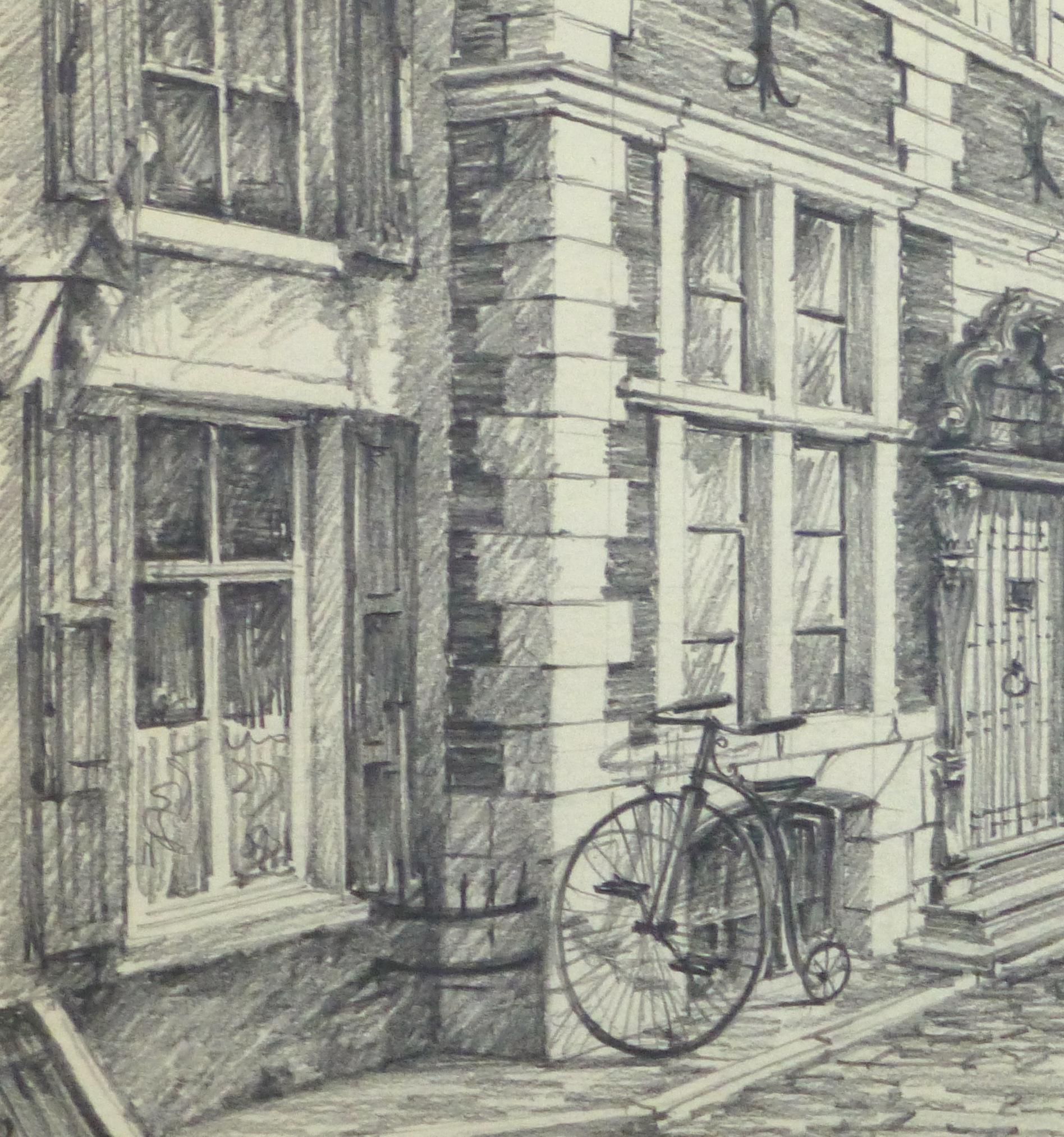 Pencil Drawing - Antwerp, circa 1950-detail 2-10362M