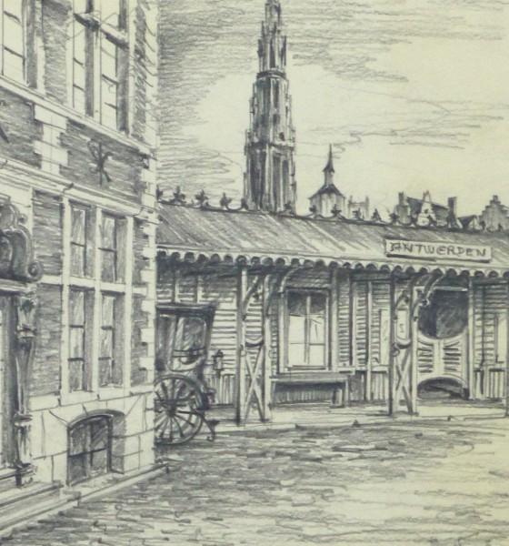 Pencil Drawing - Antwerp, circa 1950-detail-10362M