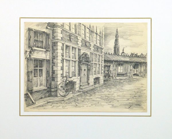 Pencil Drawing - Antwerp, circa 1950-matted-10362M