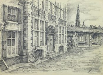 Pencil Drawing - Antwerp, circa 1950-main-10362M