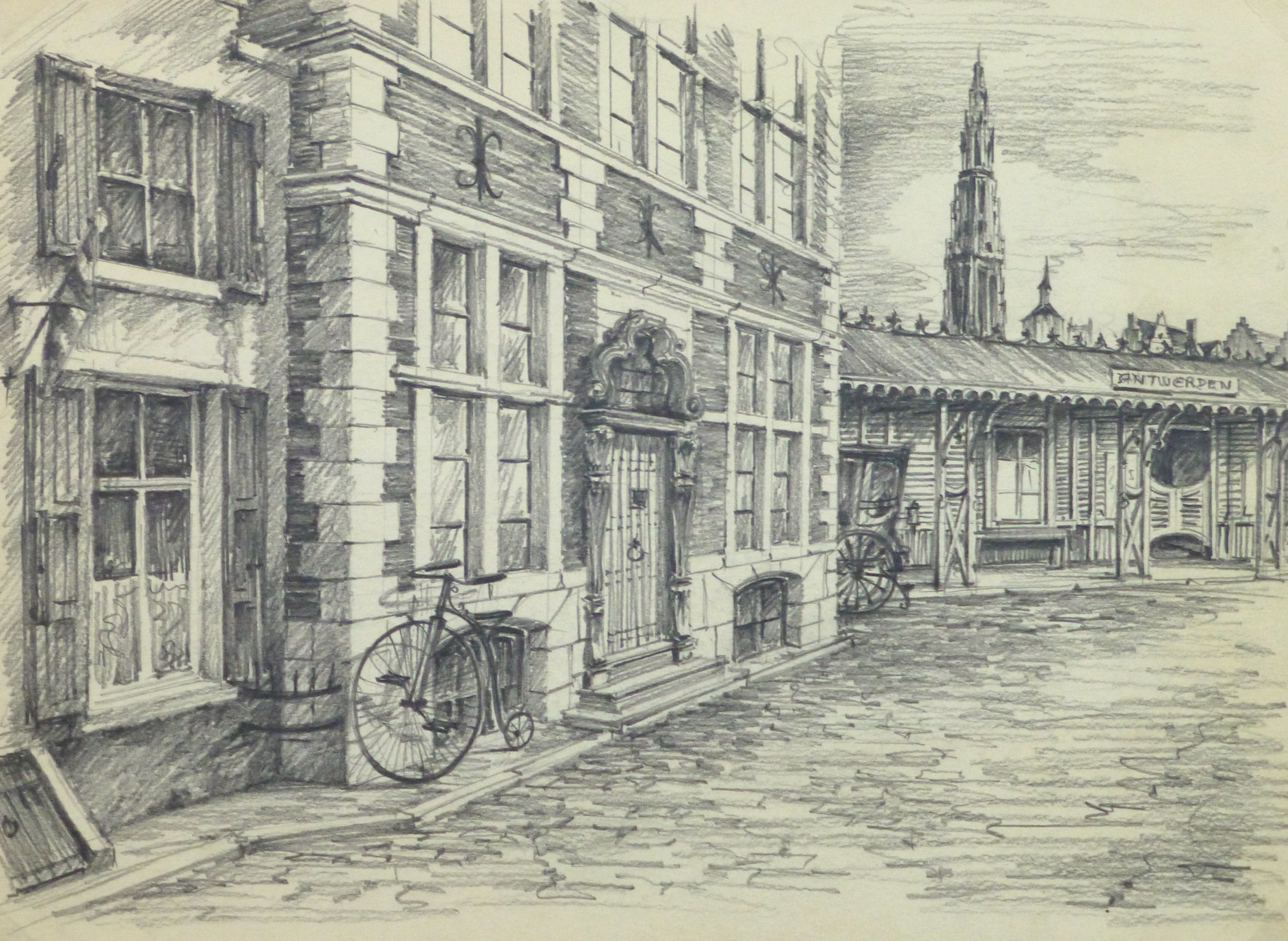 Pencil drawing antwerp circa 1950