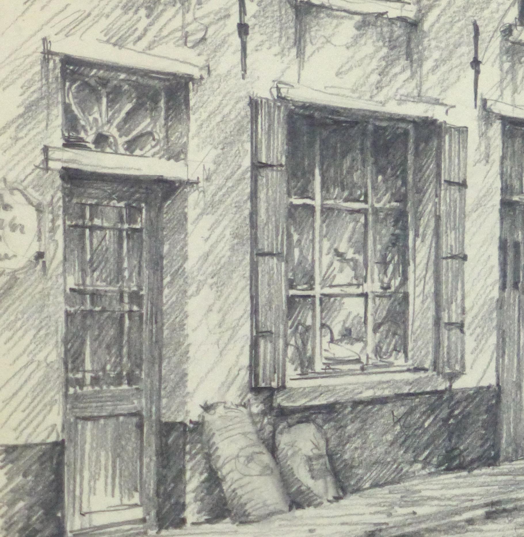 Pencil Drawing - City Shops, circa 1950-detail 2-10363M