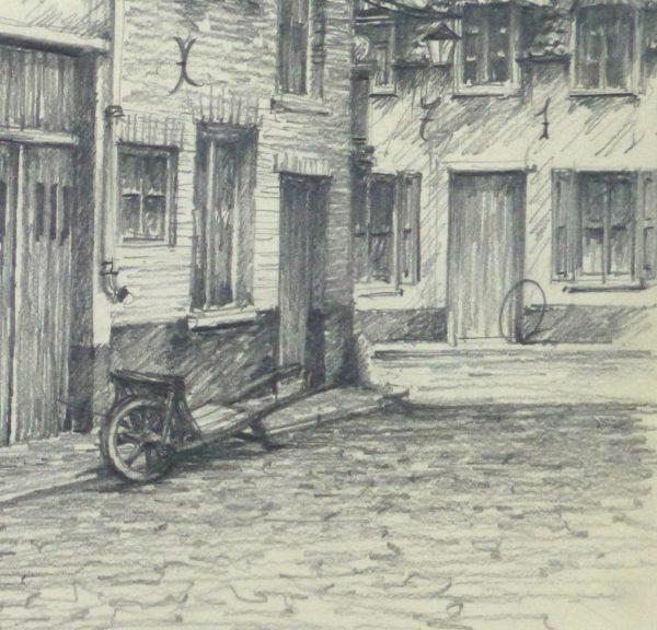Pencil Drawing - City Shops, circa 1950-detail-10363M