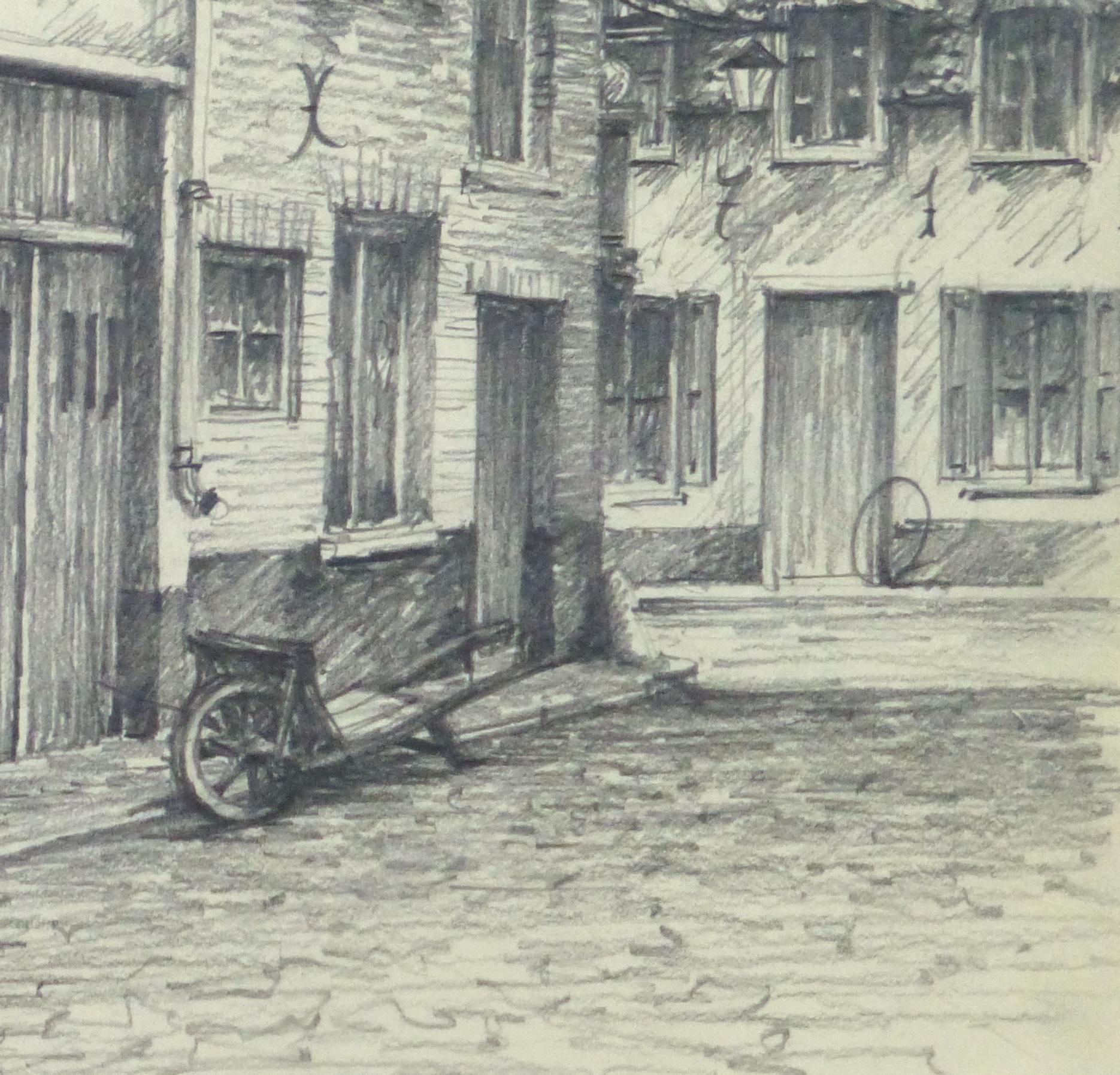 Pencil drawing city shops circa 1950 detail 10363m