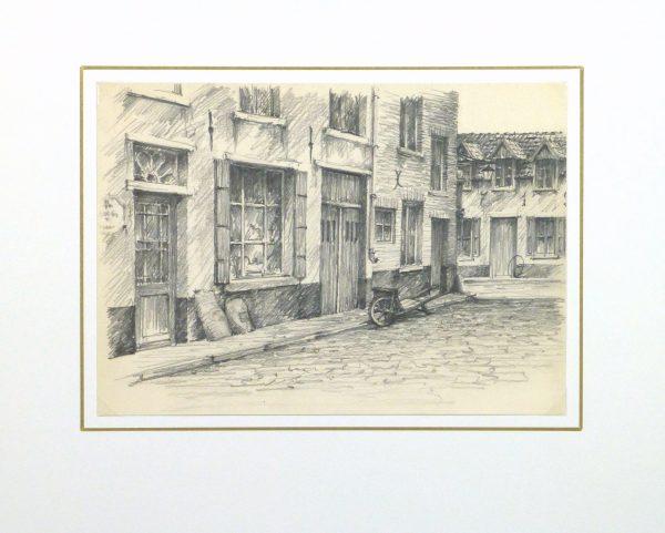 Pencil Drawing - City Shops, circa 1950-matted-10363M