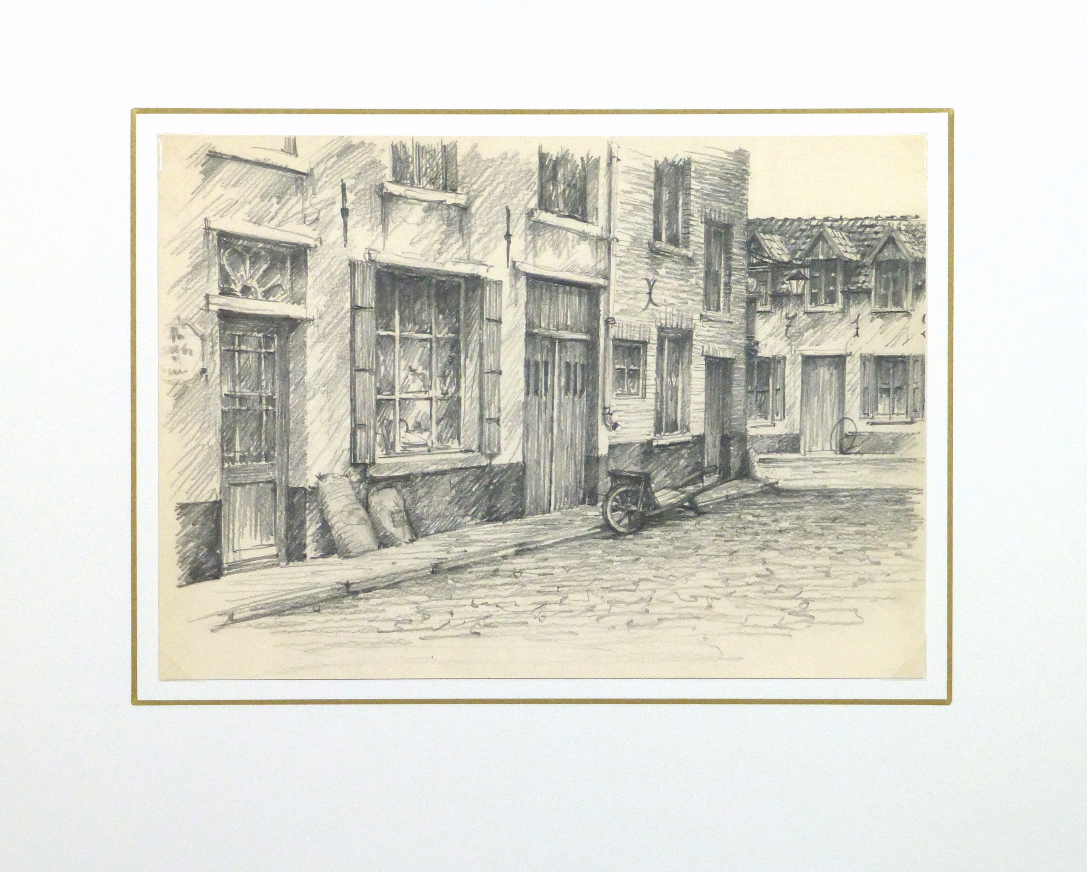 Pencil Drawing - City Shops, circa 1950-matted-10363M