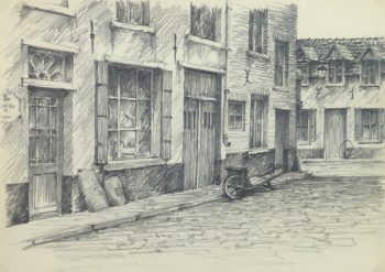 Pencil Drawing - City Shops, circa 1950-main-10363M