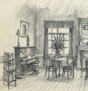 Pencil Drawing - Dining Room, circa 1950-detail 2-10364M