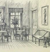 Pencil Drawing - Dining Room, circa 1950-detail-10364M