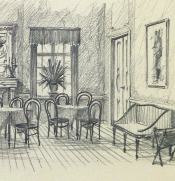 Pencil Drawing - Dining Room, circa 1950-detail-10364M