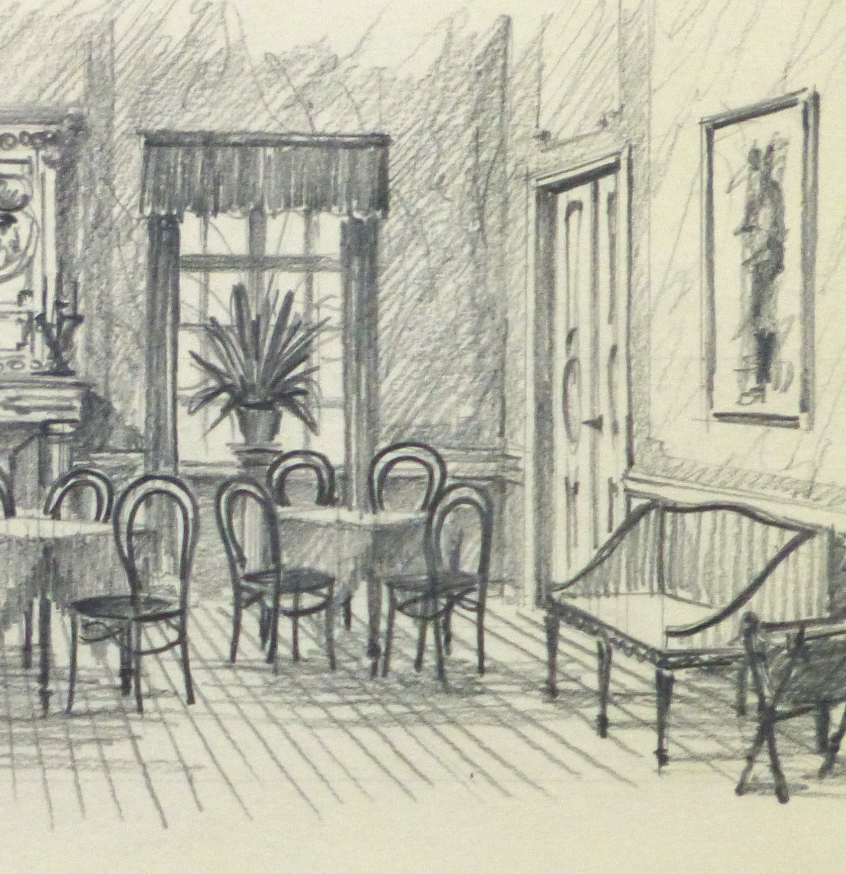 Pencil Drawing Dining Room Circa 1950