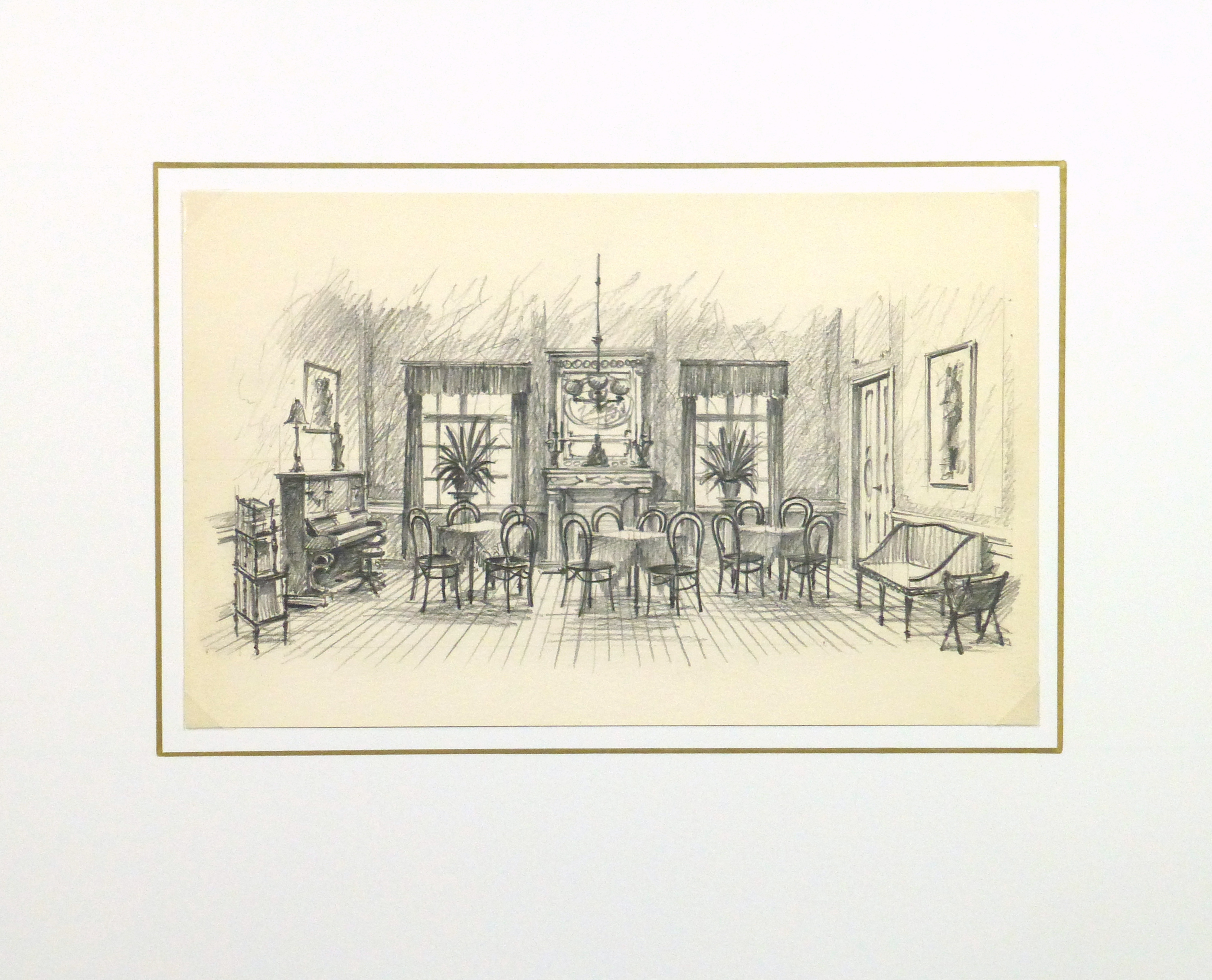 Pencil Drawing - Dining Room, circa 1950-matted-10364M