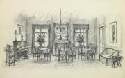 Pencil Drawing - Dining Room, circa 1950-main-10364M