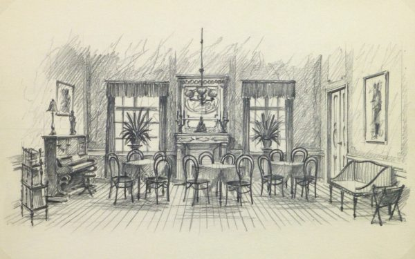 Pencil Drawing - Dining Room, circa 1950-main-10364M