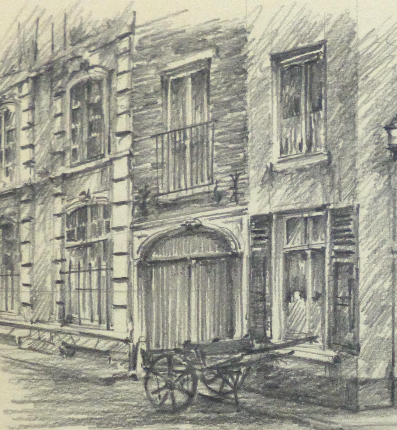 Pencil Drawing - Street Corner, circa 1950-detail 2-10365M