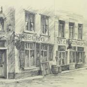 Pencil Drawing - Street Corner, circa 1950-detail-10365M