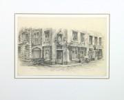 Pencil Drawing - Street Corner, circa 1950-matted-10365M