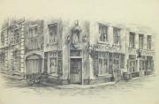 Pencil Drawing - Street Corner, circa 1950-main-10365M