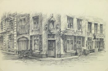 Pencil Drawing - Street Corner, circa 1950-main-10365M