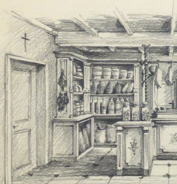 Pencil Drawing - General Store, circa 1950-detail 2-10366M