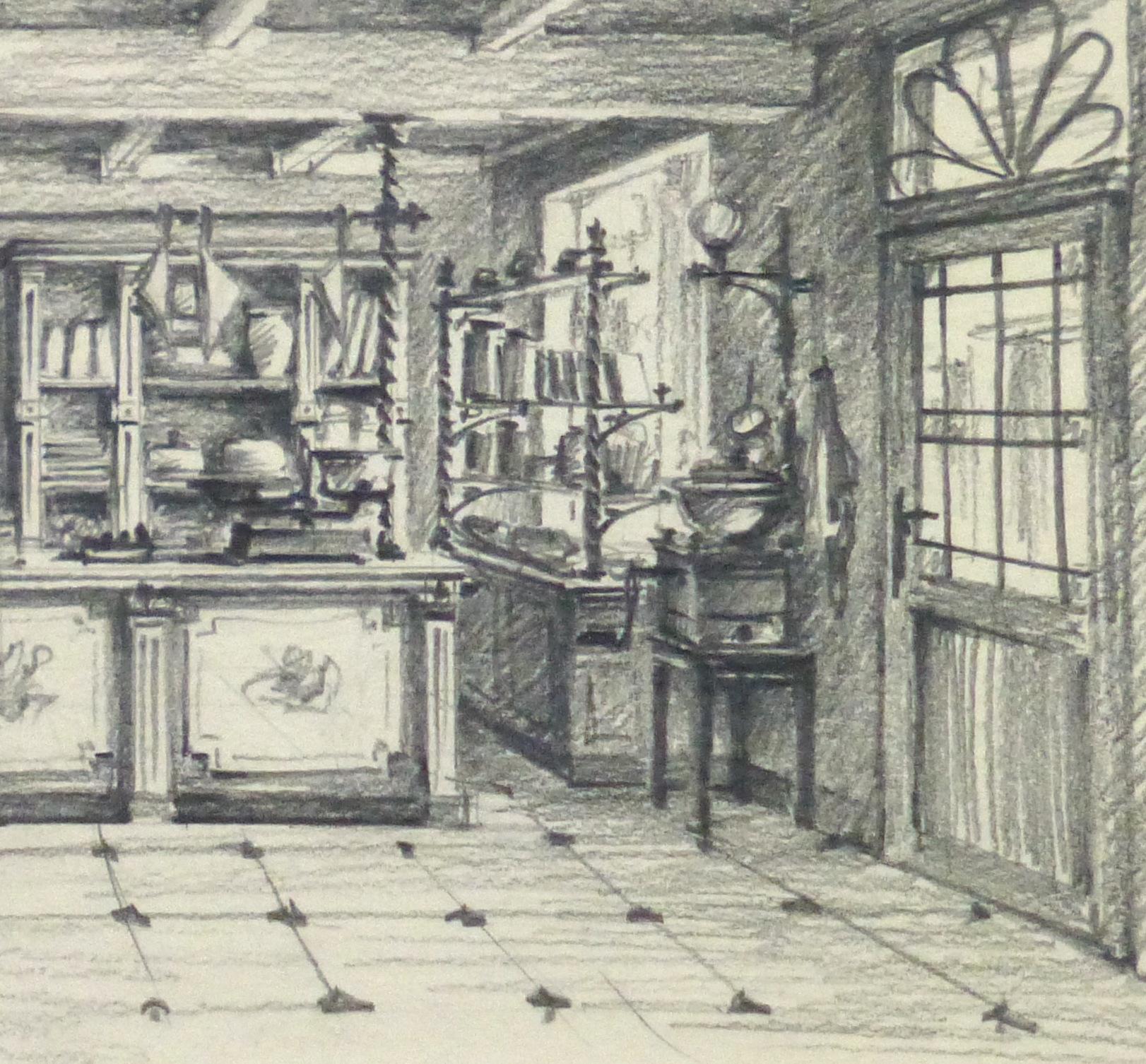 Pencil Drawing - General Store, circa 1950-detail-10366M
