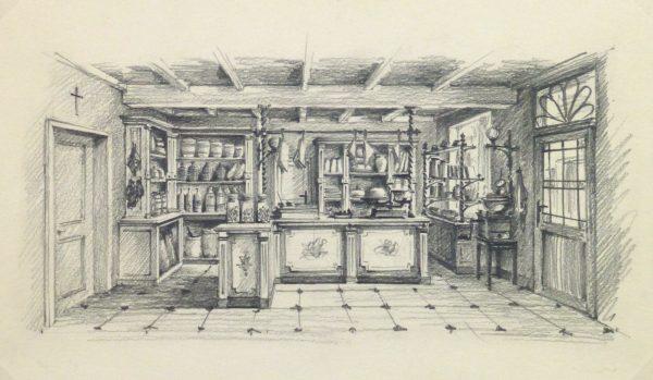 Pencil Drawing - General Store, circa 1950-main-10366M