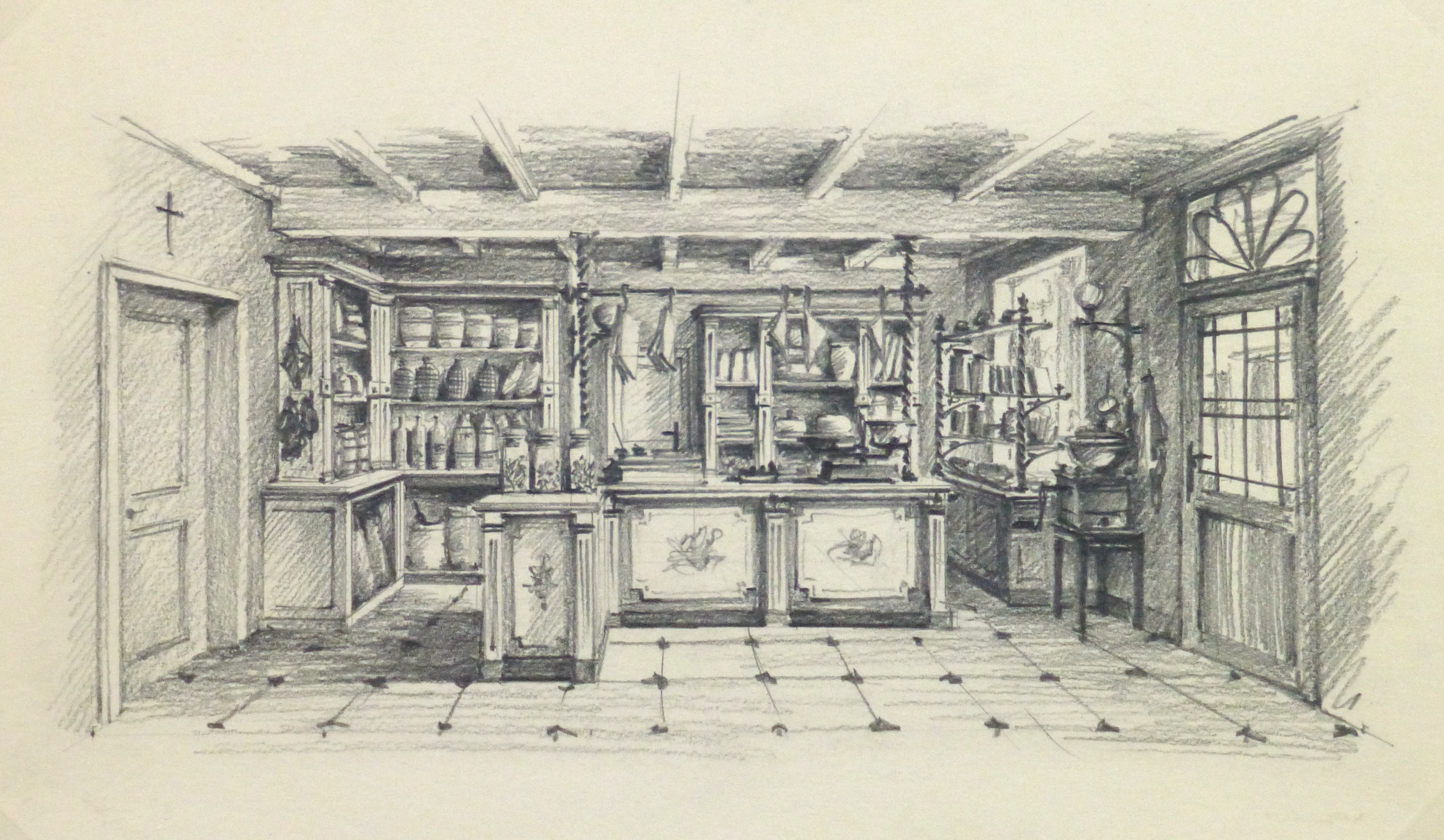 Pencil Drawing - General Store, circa 1950-main-10366M