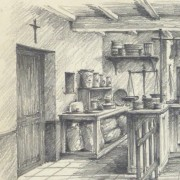 Pencil Drawing - Country Store, circa 1950-detail 2-10367M