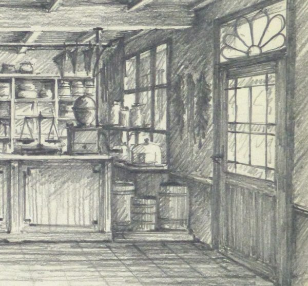Pencil Drawing - Country Store, circa 1950-detail-10367M
