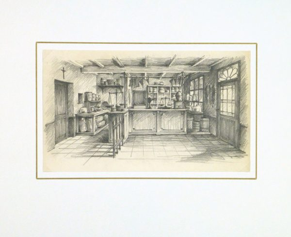 Pencil Drawing - Country Store, circa 1950-matted-10367M