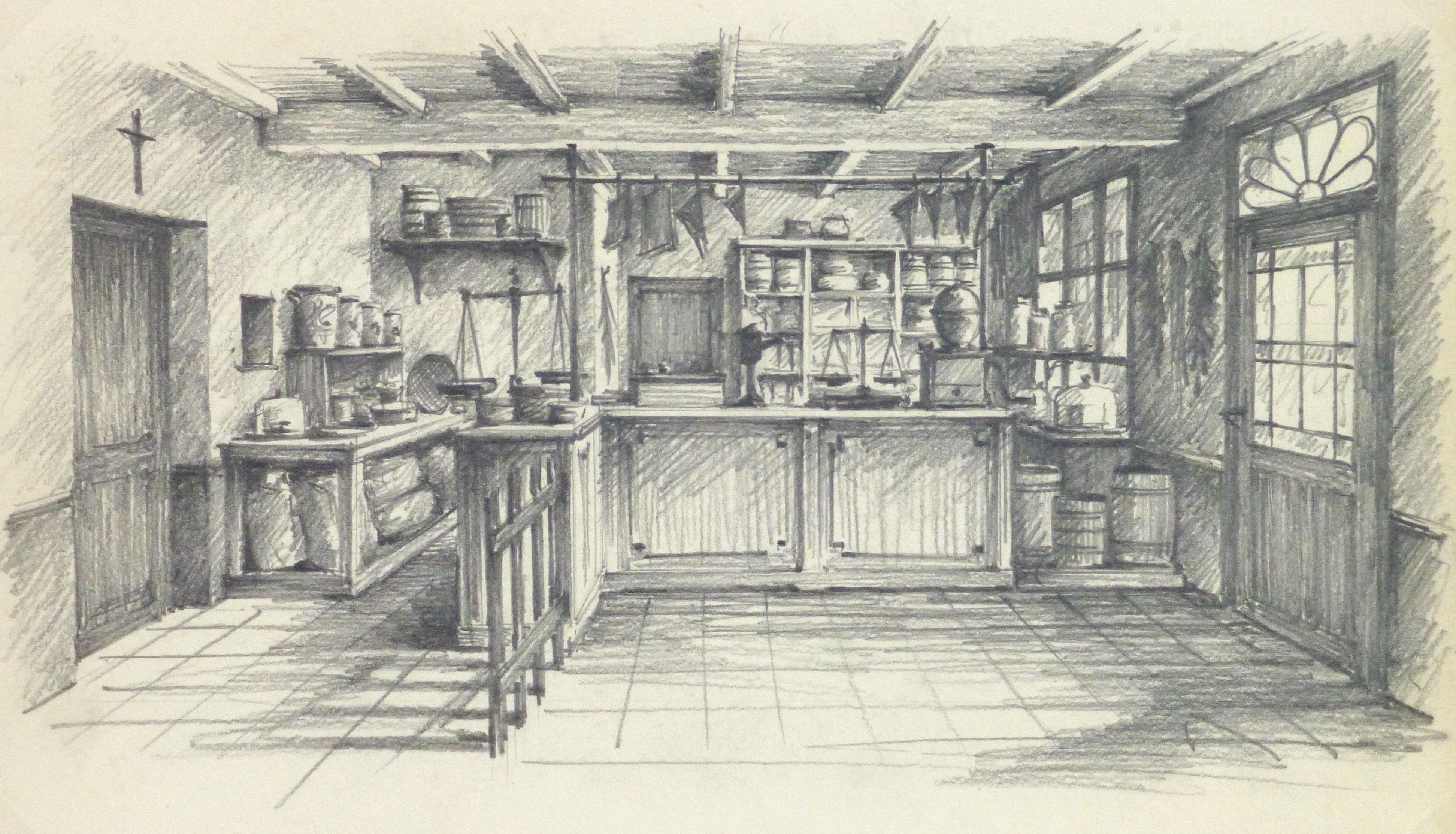 Pencil drawing country store circa 1950 main 10367m