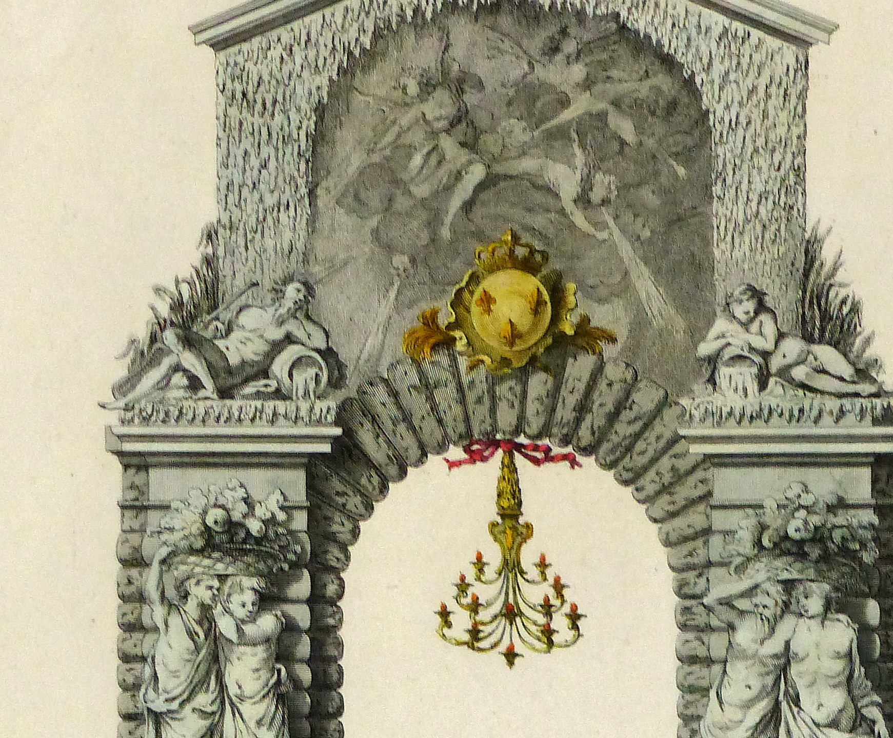 Paris City Decor Engraving, 1745-detail 2-10370M