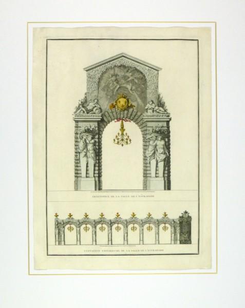 Paris City Decor Engraving, 1745-matted-10370M